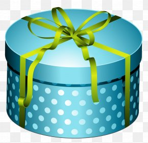 Blue Round Present Box With Bow Clipart - Christmas Gift Birthday Clip Art PNG
