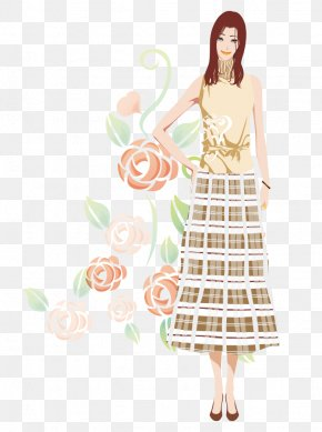 Cartoon Dress Flowers Hand-painted Hair Beauty - Long Hair Bijin PNG