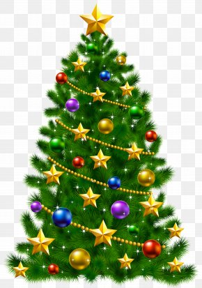 Transparent Christmas Tree With Stars Clipart - Christmas Tree Christmas Day Santa Claus Clip Art PNG