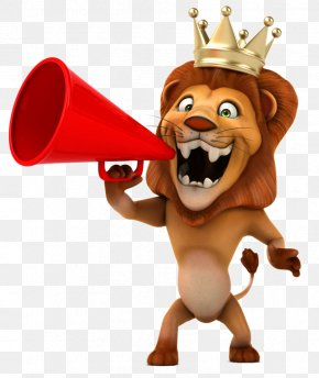 Cartoon Lion Holding A Horn - Lion Stock Photography Cartoon Royalty-free PNG