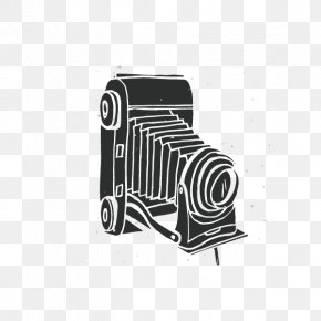 Vintage Black And White Long-shaped Camera - Black And White Camera Photography PNG