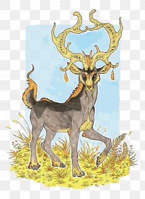 Vector Watercolor Deer - Reindeer Elk Watercolor Painting Illustration PNG
