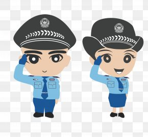 Gray Hat Of The Policewoman And Special Police Hand Painted - Police Officer Cartoon Chinese Public Security Bureau Peoples Police Of The Peoples Republic Of China PNG