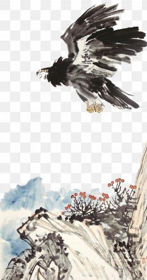 Eagle - Eagle Hawk Ink Wash Painting PNG
