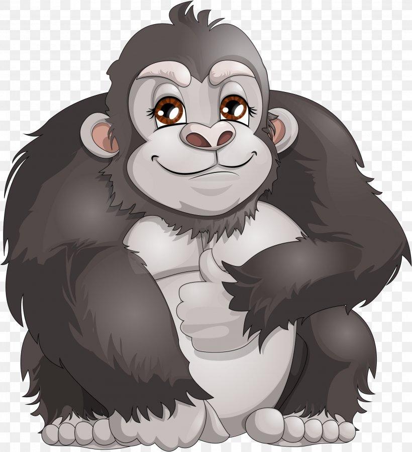 Western Gorilla Ape Chimpanzee Monkey Clip Art, PNG, 2571x2821px, Western Gorilla, Ape, Bear, Carnivoran, Cartoon Download Free