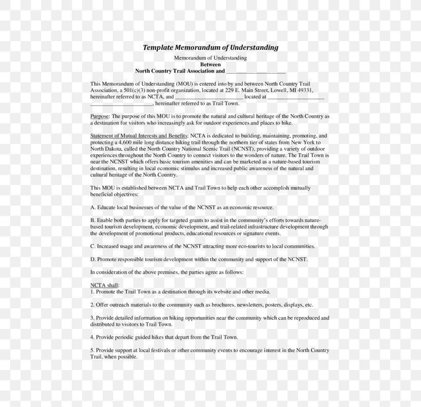 Document Memorandum Of Understanding Contract Template Png
