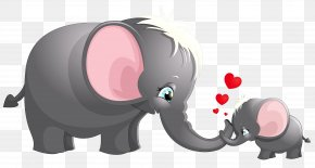 Transparent Cute Mom And Kid Elephant Cartoon Picture - Elephant Cartoon Drawing Clip Art PNG