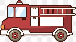 Red Fire Engine - Car Motor Vehicle Fire Engine Firefighter Drawing PNG