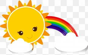 Sun Rainbow Clouds - Sky Cartoon Yellow PNG