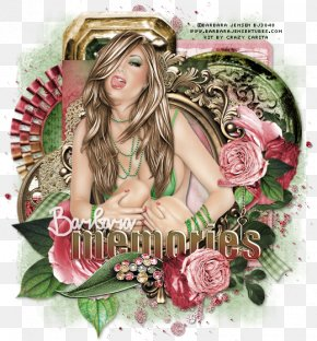 Tongue Twister Day - Brown Hair Photomontage Flower Pink M PNG