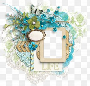 Blue Lace Decorative Mirror - Picture Frame Mirror Digital Scrapbooking PNG