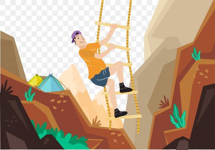 Rock Climbing Mountaineering Illustration, PNG, 5842x4097px, Climbing, Art, Carabiner, Cartoon, Climbing Wall Download Free