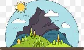 Vector Cartoon Mountain - Cartoon Mountain Landscape PNG