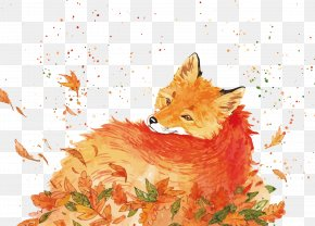 Vector Watercolor Fox - Red Fox Watercolor Painting Drawing PNG