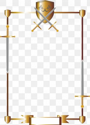 Border Sword And Shield Consisting - Sword Shield Knight Coat Of Arms Weapon PNG
