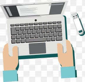 Vector Hand Computer - Computer Keyboard USB Flash Drive Download PNG