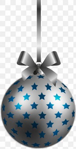 Large Transparent BlueSilver Christmas Ball Ornament Clipart - Christmas Ornament Christmas Decoration Christmas Tree Clip Art PNG