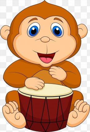 Cartoon Baby Monkey - Drums Cartoon Royalty-free PNG