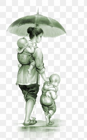 The Woman In The Rain Holding The Child And The Child - U6bcdu611b Gratitude Parent Mother Child PNG