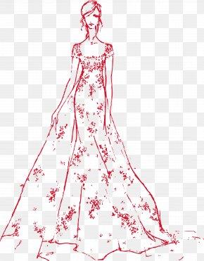 Vector Bride Wedding Fashion Show - Drawing Fashion Wedding Dress Bride Sketch PNG