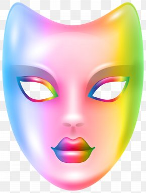Carnival Face Mask Rainbow Clip Art Image - Mask Face Facial Clip Art PNG