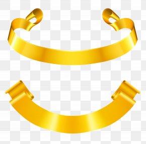 Gold Banner Set Clipart Picture - Ribbon Euclidean Vector Gold Clip Art PNG