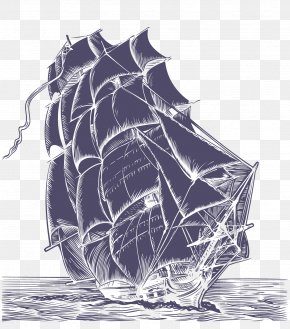 Pen Drawing Fine Galleon - A Pirate Looks At Fifty United States Wedding Invitation Piracy Ship PNG