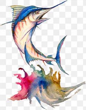 Watercolour Animals - Art Watercolor Painting Drawing Atlantic Blue Marlin PNG