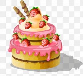 Hand-painted Strawberry Birthday Cake - Coffee Birthday Cake Cupcake PNG