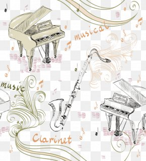 Piano And Saxophone - Piano Musical Instrument Illustration PNG