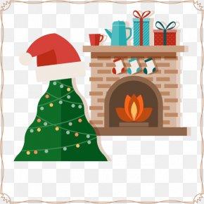 Warm Christmas - Christmas Tree Santa Claus Fireplace Christmas Ornament PNG
