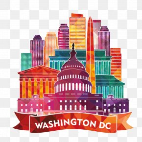 Colorful Building Washington DC Silhouette - Washington, D.C. Skyline Stock Illustration Illustration PNG