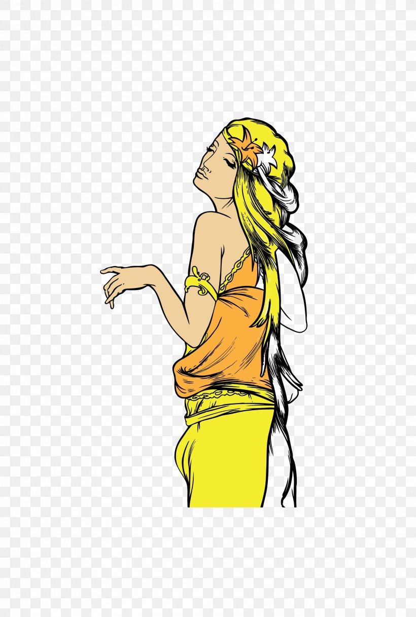 Yellow Euclidean Vector Goddess Clip Art, PNG, 2196x3261px, Designer, Art, Cartoon, Clip Art, Fictional Character Download Free