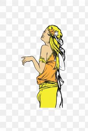 Vector Yellow Exotic Goddess - Yellow Euclidean Vector Goddess Clip Art PNG