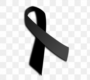 Cross The Black Ribbon With Transparent Material - Black Ribbon Awareness Ribbon Badge PNG
