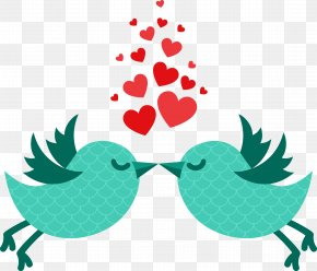 Qinmi Two Birds - Valentines Day February 14 Love Illustration PNG