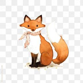 Mr. Fox Watercolor Illustration - Fox Drawing Printmaking Watercolor Painting Illustration PNG