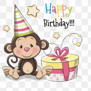 Monkey's Birthday Present - Birthday Greeting Card Cartoon Illustration PNG