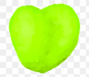 GREEN APPLE - Green Yellow Leaf Heart PNG