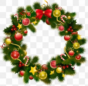Evergreen Garland Cliparts - Merry Christmas, Vol. IV New Years Day Wreath Wallpaper PNG