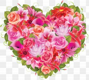 Flowers Heart - Flower Heart Valentine's Day Clip Art PNG