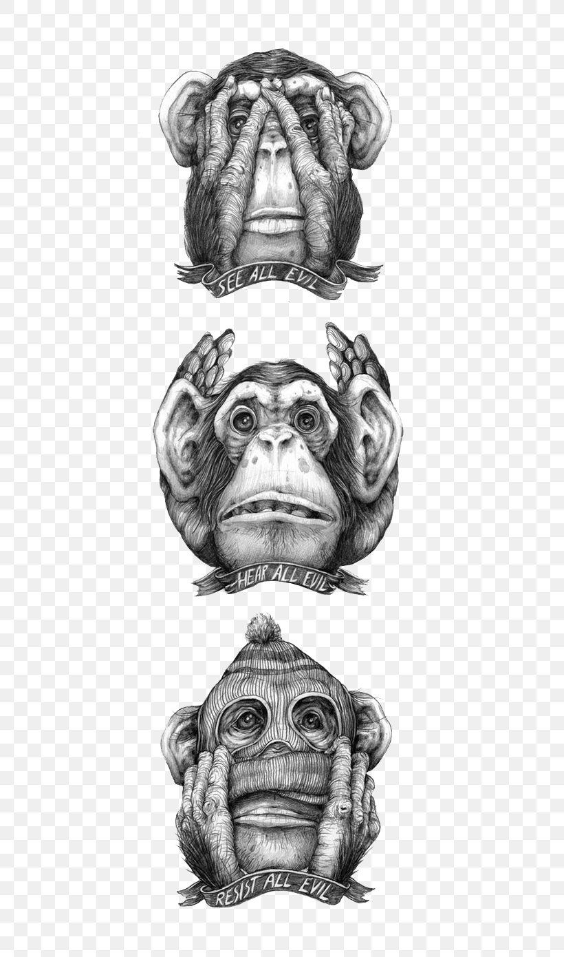 The Evil Monkey Drawing Chimpanzee Illustration, PNG, 564x1390px, The Evil Monkey, Art, Artist, Baby Monkeys, Black And White Download Free