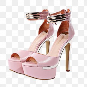 Pair Of Pink High-heeled Sandals - High-heeled Footwear Shoe Sandal PNG