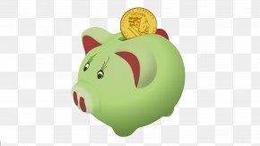 Green Piggy Bank - Piggy Bank Saving Clip Art PNG
