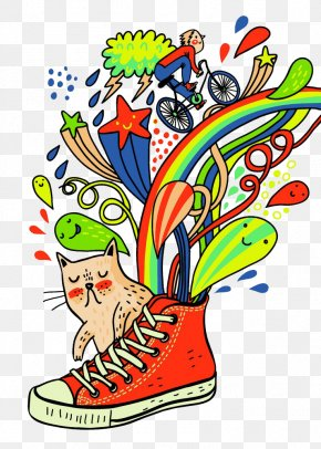 Free To Pull The Material Will Also Be Sprayed Rainbow Shoes - T-shirt Cartoon Shoe Converse PNG
