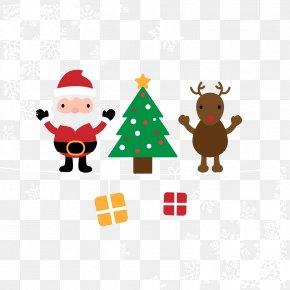 Cartoon Santa Claus And Reindeer Vector Material - Santa Clauss Reindeer Santa Clauss Reindeer Christmas PNG