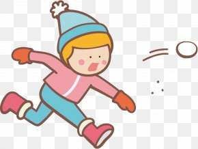 Pleased Playing In The Snow - Snowball Fight Winter Kids PNG