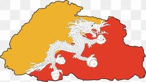 World Map Clipart - Flag Of Bhutan Map National Symbols Of Bhutan PNG