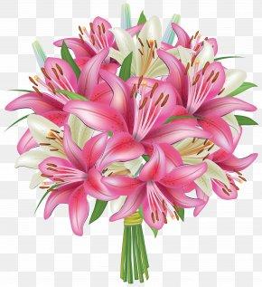 White And Pink Lilies Flowers Bouquet Clipart Image - Flower Bouquet Lilium Clip Art PNG
