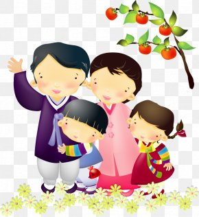Vector Couple With Daughter - South Korea Family Cartoon Illustration PNG